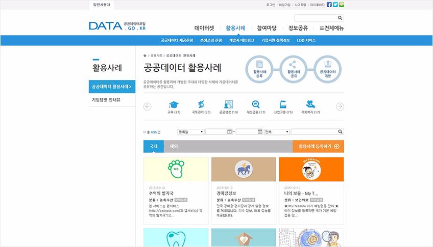 공공데이터 활용사례 페이지 이미지