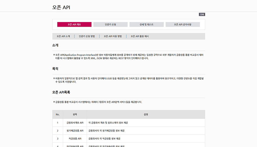금융상품 통합 비교 공시 시스템 구축 사업 오픈 API 개요 페이지